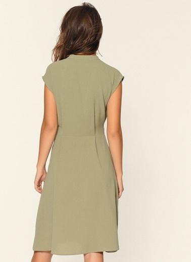 Loves You Düşük Kol Kuşaklı Crep Elbise Yeşil